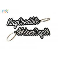 Best Heat Cut Border Letter Custom Embroidered Key Tags With Metal Ring Accessory wholesale