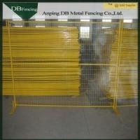 China Yellow Color Steel Portable Temporary Fence Panels Powder Coated Treatment on sale