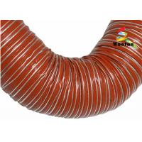 Best Iron Oxide Red Silicone Coated Fiberglass Fabric High Temperature Flexible Duct wholesale