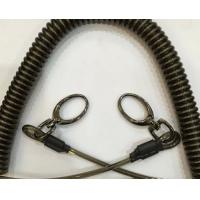 Heavy duty spiral coil lanyard quick realease stainless steel wire w/egg hooks on each end