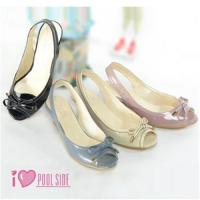 China POOL SIDE lovely and elegant sense of ~ Doraemon patent bow low heeled shoes on sale
