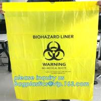 China Disposable plastic biohazard bags infectious linen waste bags, Yellow Biohazard Waste Bag Medical Specimen Transport Bag on sale