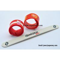 China 20mm width silicone snap band, color silicone slap band with logo print,factory low price supply on sale