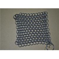 China 7*7 inch Stainless Steel Wire Mesh Scrubber / Chainmail Cast Iron Cleaner on sale
