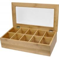 Best 10 compartments bamboo wooden organic assorted tea storage box tea gift set wholesale