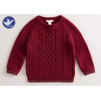 China Multi Cable Knitting Girls Long Sleeve Sweaters , Girls Red SweaterSide Slit on sale