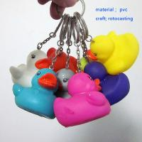 Best Shenzhen colorful duck keyring, mini colorful pvc ducks keychain with green materials wholesale
