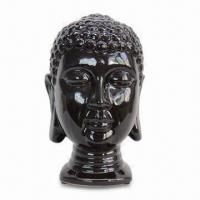 Best Ceramic Buddha Head Statue with Dark Coffee Glaze Finish, Customized Size and Design are Accepted wholesale