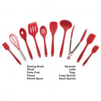 Best Customized Logo Print Silicone Kitchen Utensils Soft Food Grade Safe Colorful Red Color wholesale