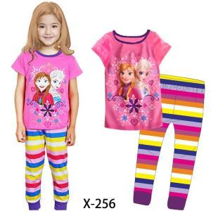 China Pink Girl Frozen Summer Pajamas Set X-256 on sale