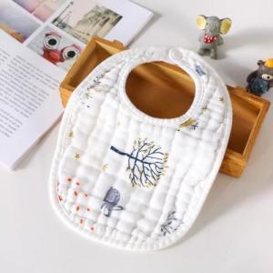 China Various Color Muslin Baby Bibs Snap Closure Silk Screen Printing No Fading on sale