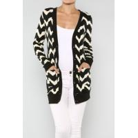 China Customized Zig Zag Open Cardigan Womens Knit Sweaters With Chevron Printed on sale