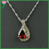 Best China Supplier 925 sterling silver pear shape synthetic garnet gemstone sun pendant wholesale