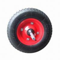 China 400-8 Pneumatic Wheel with Steel Rim, Solid Axle and Lug Pattern on sale