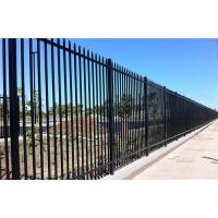 China 2.4m X 2.4m SHS 65mm Tube Black Garrison Garden Fence Panels Security Spear Top Tubular Steel Fencing on sale