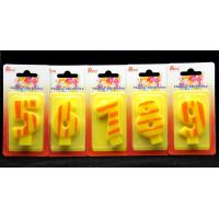 Best Number Birthday Candles 0-9 Yellow Candle  with Orange color Stripe Painting wholesale