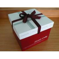 China Red Cake Paper Box Packaging With Silk Ribbon , Custom Designed Boxes on sale