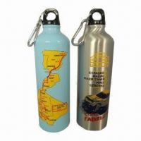 China 750mL Aluminum Water Bottles with Lid and 6cm Carabiner Hook on sale