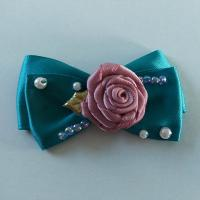 Best Casual Toddler Girl Hair Accessories Satin Ribbon Bow With Handmade Flower wholesale