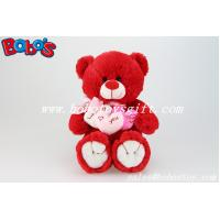 Best Personalized Gifts Red Lovely Teddy Bears With 3 Hearts for Valentines Day wholesale