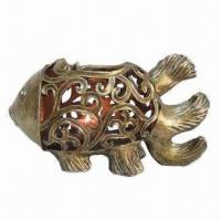 Best Polyresin Pierced Fish Tealight Holder in Antique Gold Finish wholesale