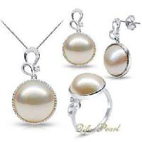 Best Rhodium Plated Sterling Silver Mabe Pearl Jewellery Set (ST110592) wholesale