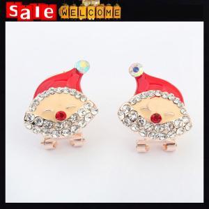 Best Cute Christmas Gift 18K Crystal Drip Imitation Diamond Women Santa Whit Hat Clip Earrings wholesale