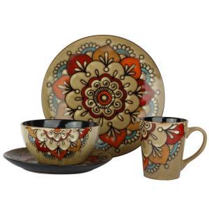 China 16pcs Ceramic Stoneware Dinnerware Sets Hand Painted Flower Reactive Glaze on sale