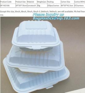 Best cornstarch eco Green 16oz Food Container Sugarcane Biodegradable Square Disposable Paper Salad Tray/Bowl bagplastics, pa wholesale