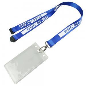 China True Nylon Security Imprinted Nylon Lanyards With Big Size Plastic Card Holder on sale