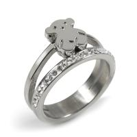 Best Silver Stainless Steel Bear Cute Ring Jewelry For Woman / Ladies wholesale