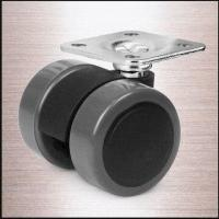 China 35mm Light-duty Swivel Unhooded Twin Wheel PVC Caster with Plate Fitting on sale