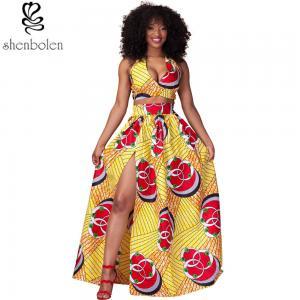 China Sexy Halter Neckline Short Top African Print Dresses Maxi Ankara Wax Batik Printing on sale