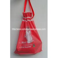 China Colored Frosted Plastic Gift Bags with Tie , Drawstring Pouch Bag With Ribbon For Christmas Gift on sale