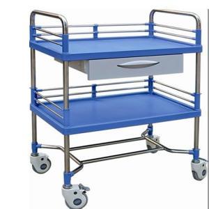 Best Abs Plastic Drawer Emergency Medicine Trolley , Stainless Steel Frame Medical Instrument Cart wholesale