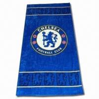 China Velour Reactive Printed Beach Towel, Made of Soft Fabric, Customized Logos are Accepted on sale