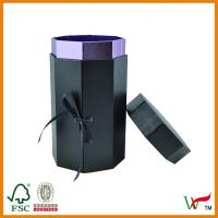 China Purple fancy paper gift box with ribbon and lid on sale
