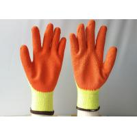 China 10 Gauge Latex Coated Gloves Yellow Cotton / Polyester Knitted For Construction on sale
