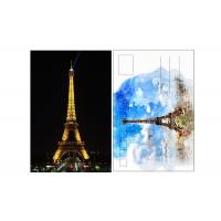 China 11x16cm Paris Eiffel Tower Day - Night 3D Lenticular Postcard With CMYK Printing on sale