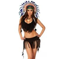 China Balck Spandex Rain Dance Sexy Native American Costume with Size S to XXL Available on sale
