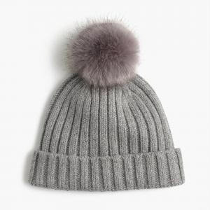 China Warm Knitted Womens Winter Hats Pom Pom , Elastic Beanie With Fur Pom Pom on sale