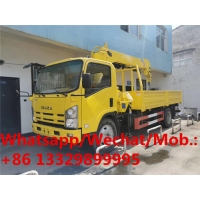 China brand new Japan ISUZU  truck mounted 5 ton auger crane for telegraph pole drilling for sale, cargo truck with crane on sale