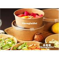 China 100% Eco Friendly Disposable Kraft Paper Salad Bowl With Lid on sale