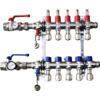 China Stainless Steel Bamboo Joint Manifold with long flow meter for underfloor heating flow meter manifold on sale