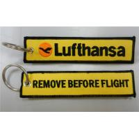 Lufthansa Airlines Remove Before Flight Embroidery Fabric Key Ring