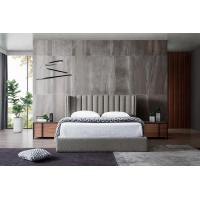 Best Grey Velvet Fabric Bed With USB Connection , Small Double Velvet Bed wholesale