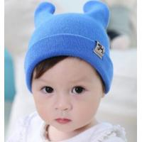 China Fall and winter new men and women baby flanging hat solid double antlers dog cloth standard warm knit hat on sale