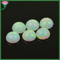 Best price of lab created white round cabochon flat bottom fire opal stone wholesale