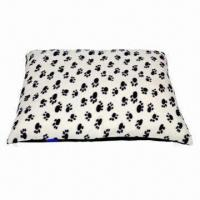 China Dog Bed/Cushion Fleece Fabric White with Black Paw Print on sale