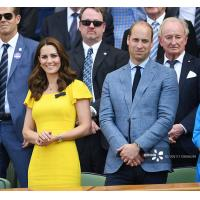 Cheap Kate Middleton Same Yellow One Step Dress Lotus Leaf Short Sleeves Celebrities for sale
